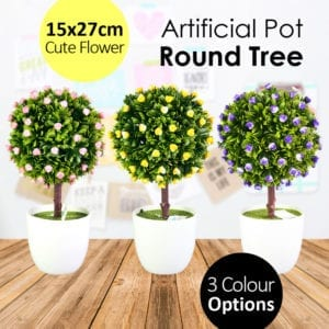 15x27cm Artificial Potted Round Flower Tree