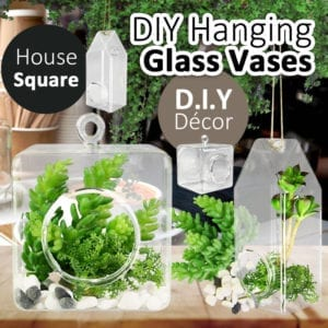 DIY Hanging Glass Vase Square House Planter