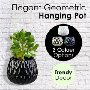 Elegant Geometric Ceramic Hanging Pot