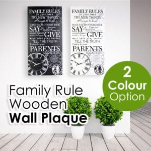 Family Rule Wooden Wall Plaque