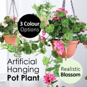 Realistic Artificial Hanging Potted Flower Blossom