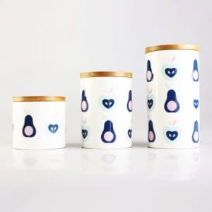 Ceramic Canister with Apple & Pear Pattern