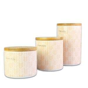 Emily Canister with Orange Strip Pattern