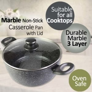 Equip Marble Non-Stick Casserole Cookware with Lid 24cm