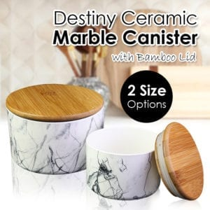 Marble Pattern Ceramic Canister