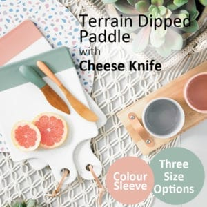 Porcelain Serving Board with Cheese Knife & Leather Tie