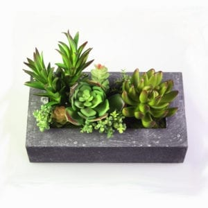 Rectangle Planter with Artificial Succulents