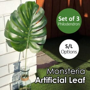 Set of 3 Artificial Monsteria Philodendron Split Leaf