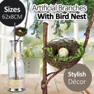Artificial Brown Wood Twig Branches with Bird Nest
