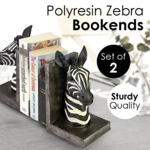 Set of 2 Polyresin Zebra Bookends