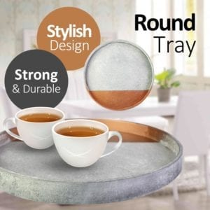 Concrete Copper Style Wooden Round Tray