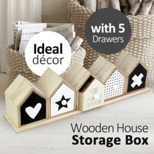 Wooden Mini Houses Storage Box with 5 Drawers