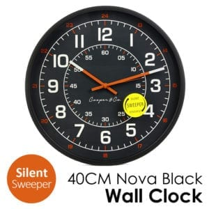 40CM Nova Black Silent Wall Clock