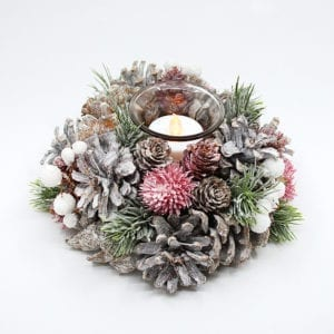 15CM Christmas Round Pastel Pine Cones Tealight Holder