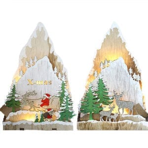22CM Christmas Wooden Mountain Scene with Light