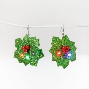Christmas Flashing Earring Holly