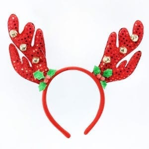 Christmas Headband Red Antler Holly Bells