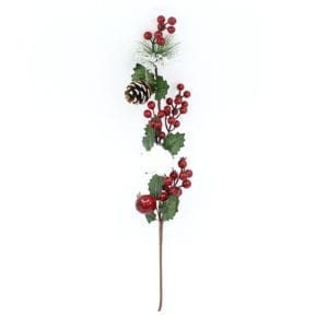 Christmas Holly Berries Pines & Cotton Branch