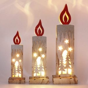 Christmas LED Light Wooden Candle_0