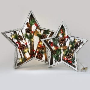 Large Christmas Wooden Star Frame Pine Light