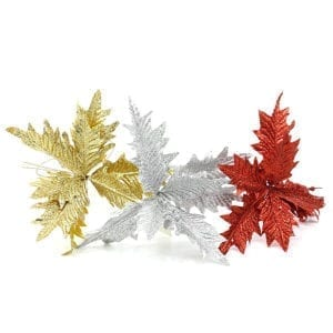 Set of 3 Glitter Poinsettia Stem with Clip