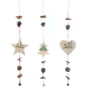 Set of 3 Merry Christmas Hanging Wooden Ornament