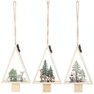 Set of 3 Wooden Christmas Tree Shape Hanging Ornament