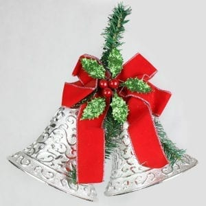 Christmas Jingle Bell Elegant Holly Silver