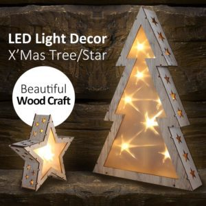 X'Mas Wooden Tree/Star Light Decor with Stars Pattern Warm Home Decor