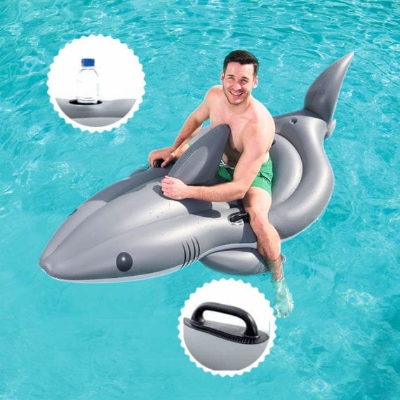 Bestway 2.54m x 1.22m Shark Funday Jumbo Floatie With Cup Holder